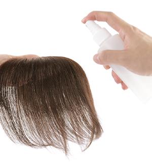 人毛トップヘアピースをつける前に1