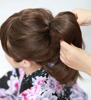 毛たぼ(盛リ髪用)のつけ方2